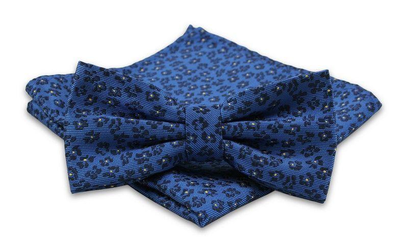 Niebieska Mucha Męska -ALTIES- z Taką Samą Poszetką, w Granatowe Kwiatki, Motyw Florystyczny MUALTS0454