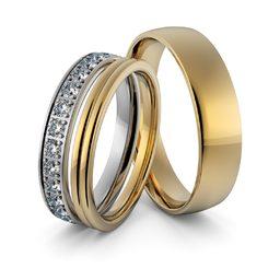 Obrączki ślubne z brylantami - zestaw dwukolorowych obrączek - Au-947