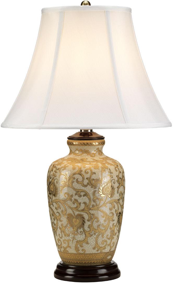 Lampa stołowa Gold Thistle Elstead Lighting klasyczna oprawa ze złotym zdobieniem