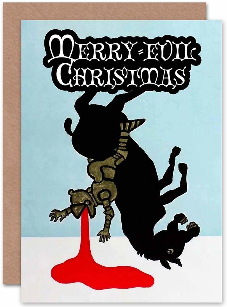 """Wee Blue Coo Kartka bożonarodzeniowa z angielskim napisem """"Blood Ritter Evil"""", zabawna"""
