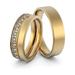 Obrączki ślubne z brylantami - zestaw obrączek - Au-949