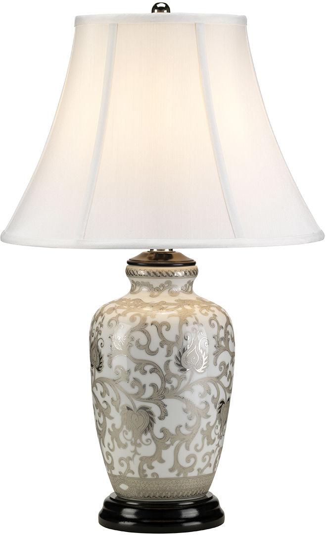 Lampa stołowa Silver Thistle Elstead Lighting klasyczna oprawa ze srebrnym zdobieniem