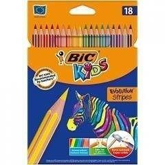 Kredki EVOLUTION STRIPES 18 kolorów BIC