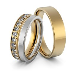 Obrączki ślubne z brylantami - zestaw dwukolorowych obrączek - Au-949-2