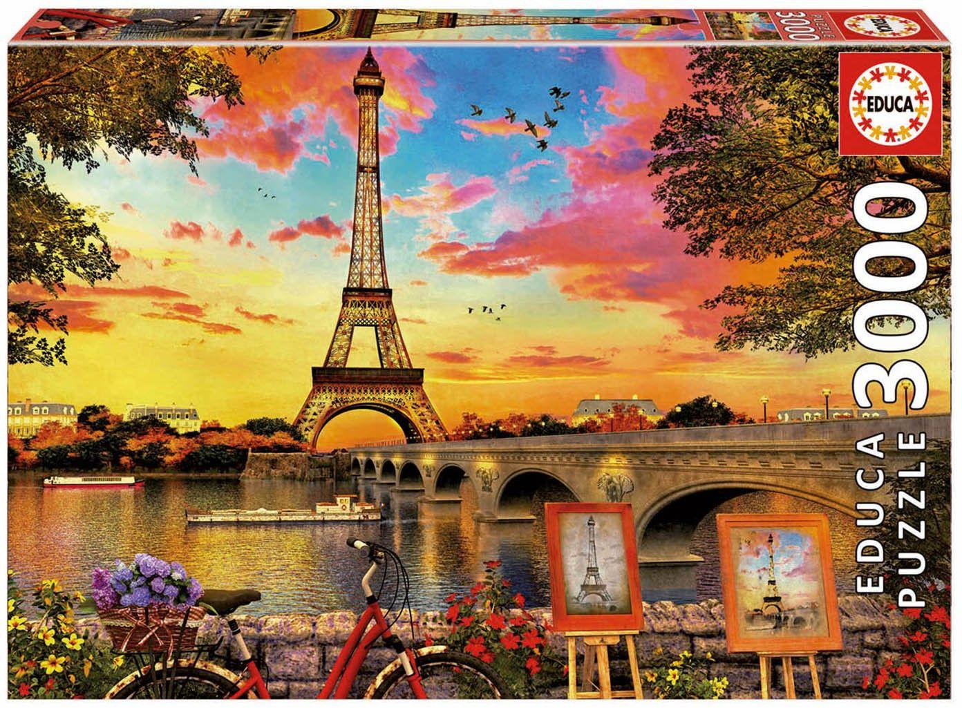 Educa Borrás 17675 Sonnenuntergang Educa Borras zachód słońca w Paryżu 3000 Puzzle Multi