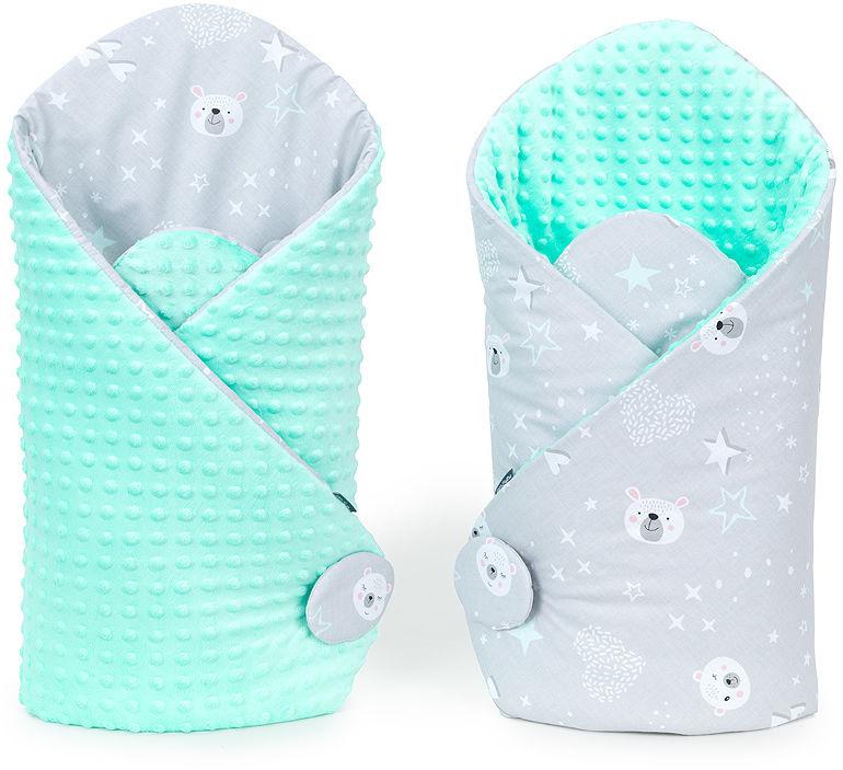 MAMO-TATO Rożek niemowlęcy dwustronny minky Miśki na szarym / miętowy