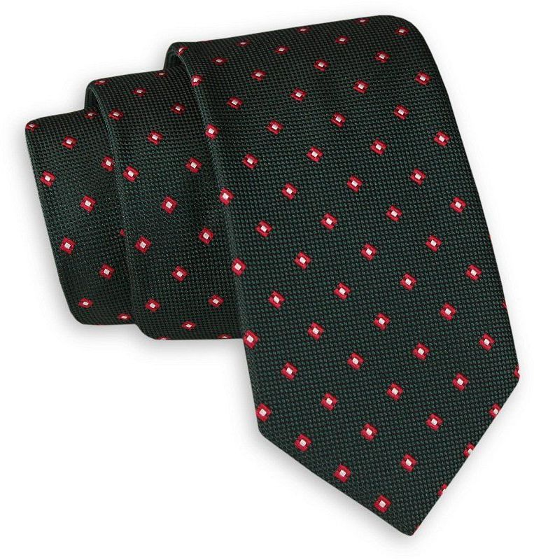 Ciemny Zielony Elegancki Krawat -Angelo di Monti- 6 cm, Męski, w Czerwono-Biały Geometryczny Wzór KRADM1718
