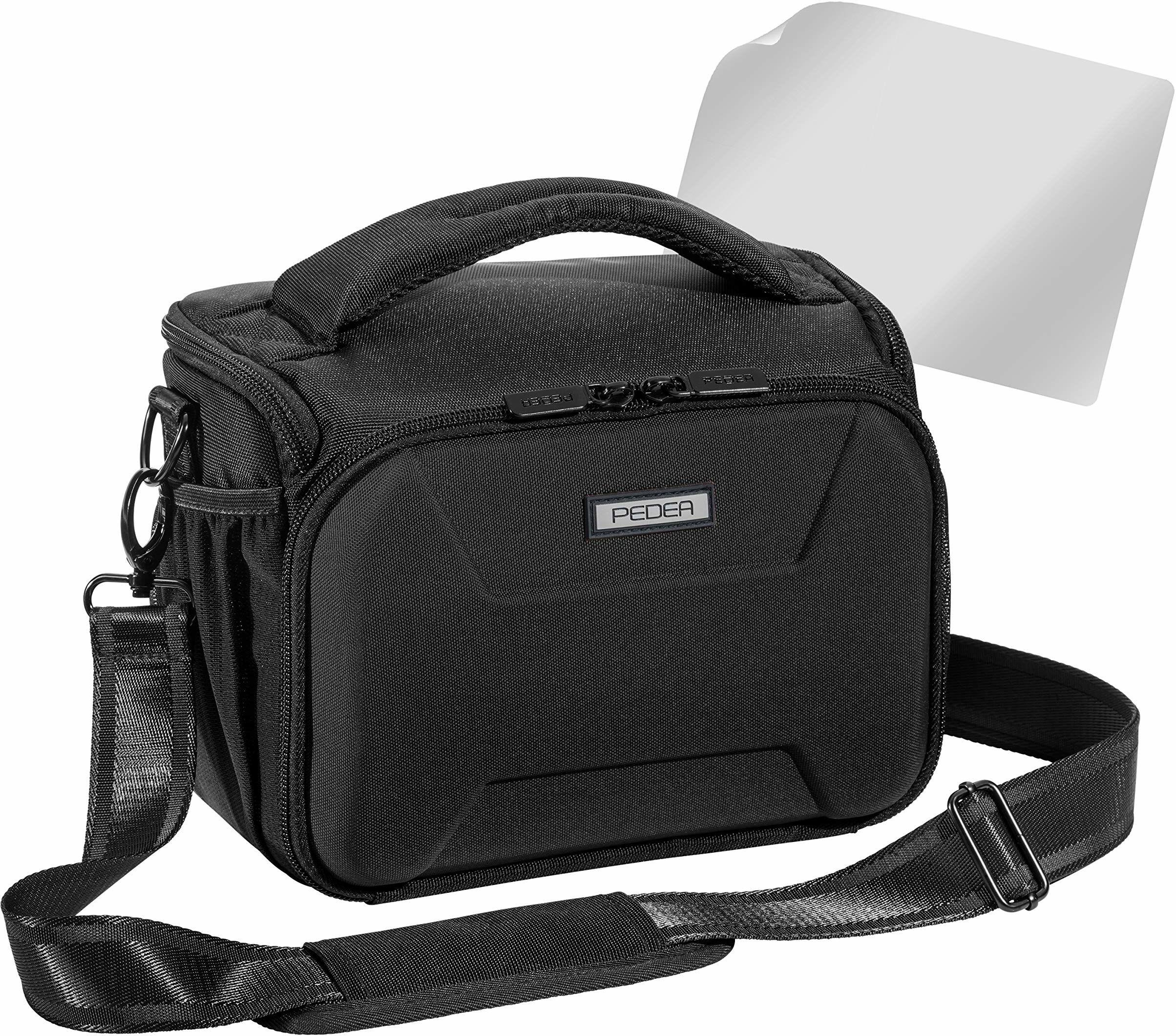 """PEDEA DSLR torba na aparat""""Guard"""" z folią ochronną na wyświetlacz do Canon EOS 5D Mark II 400D 2000D / Nikon D60 D80 D90 D3100 D3200 D3300 D3400 D5300 D7100 / Pentax K 50 K 500, Rozmiar XL czarny"""