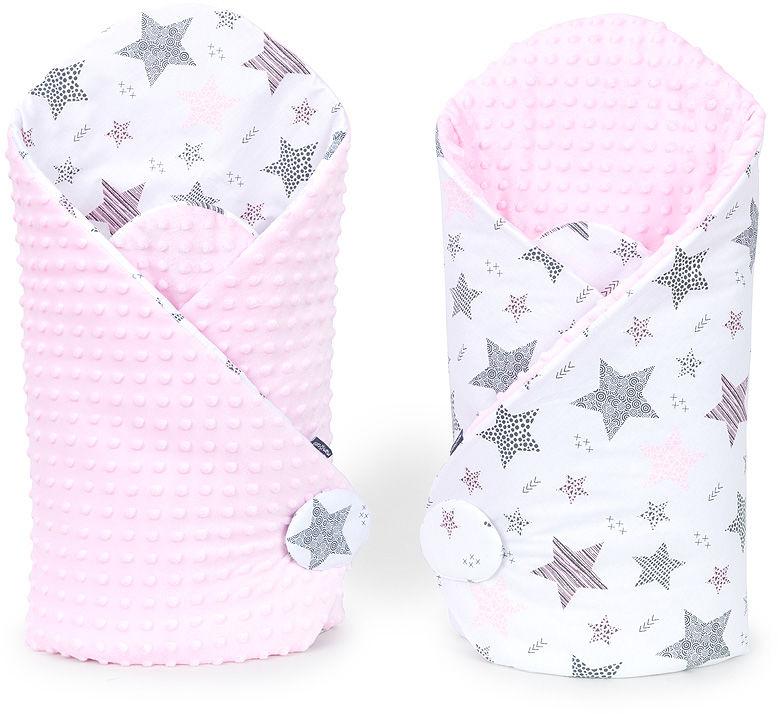 MAMO-TATO Rożek niemowlęcy dwustronny minky Starmix różowy / jasny róż