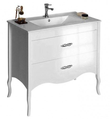 Szafka łazienkowa z umywalką RETRO Glamour 89,5x85x45cm biała