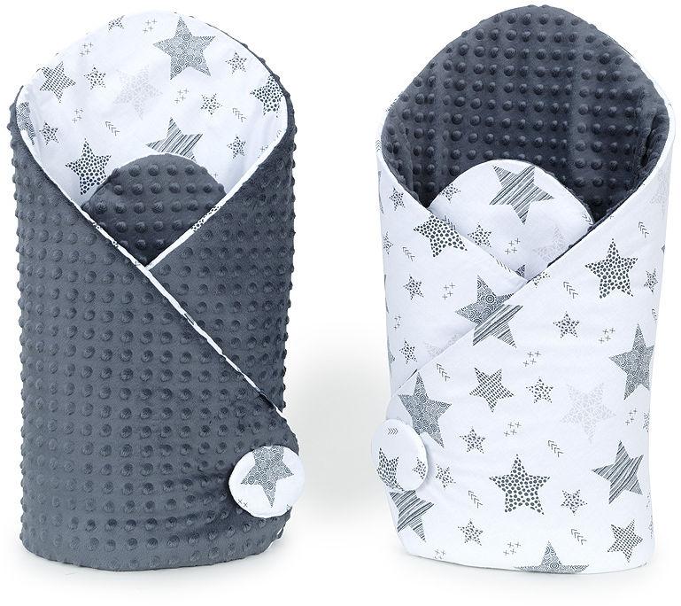 MAMO-TATO Rożek niemowlęcy dwustronny minky Starmix szary / szary
