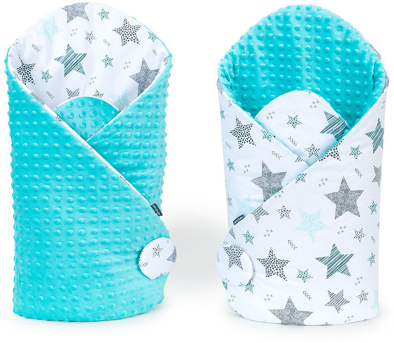 MAMO-TATO Rożek niemowlęcy dwustronny minky Starmix turkus / turkus