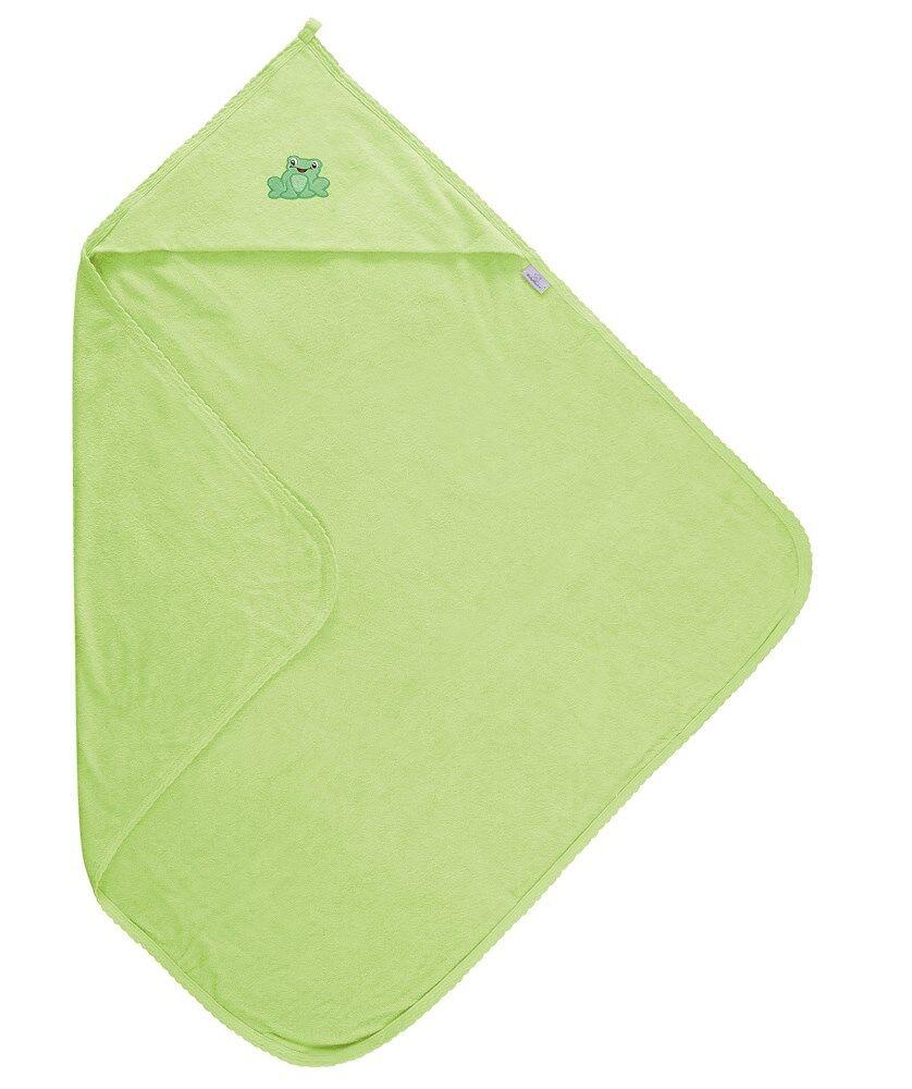 Okrycie kąpielowe niemowlęce 85x85 Frotte seledynowy 52 z ozdobną aplikacją