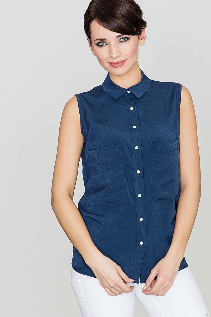 Granatowa bluzka koszulowa z rozcięciem na plecach