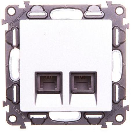 VALENA LIFE Gniazdo telefoniczne podwójne RJ11 aluminium 753339