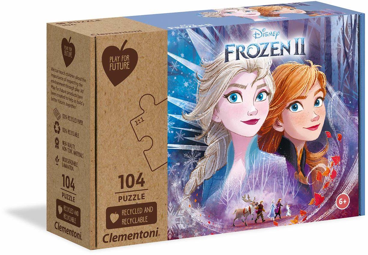 Clementoni 27154 Disney Frozen 2-104 sztuk - wyprodukowano we Włoszech - 100% recyklingowane materiały, puzzle dla dzieci