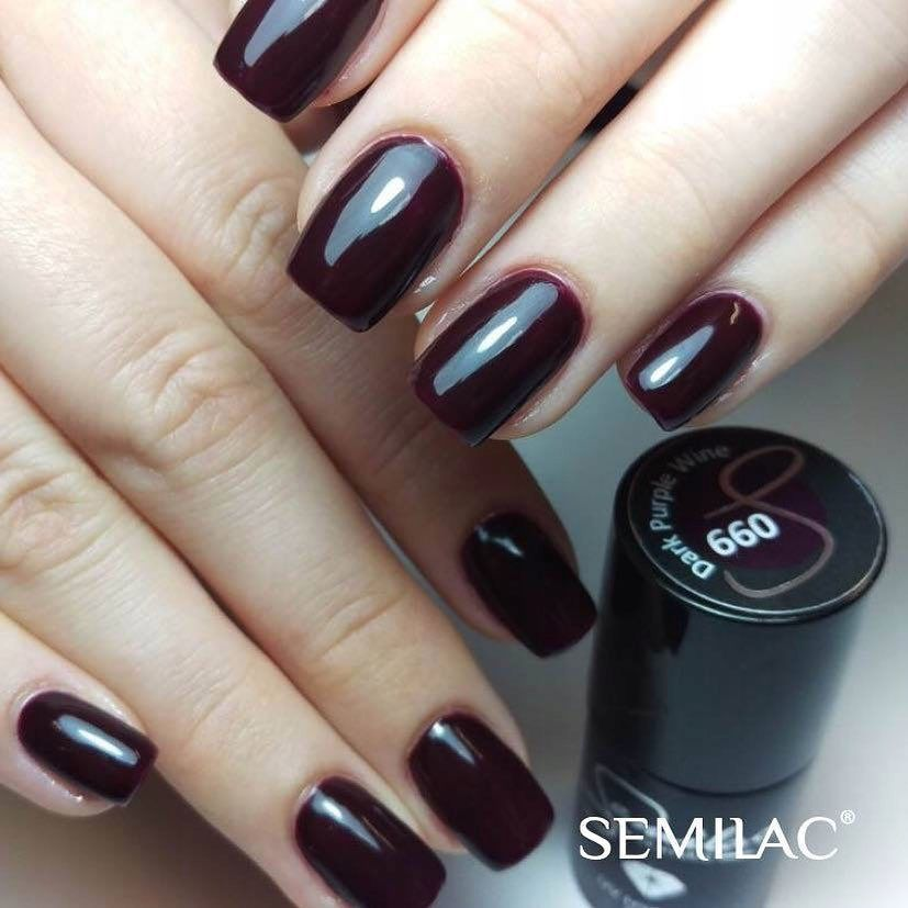 SEMILAC 099 Dark Purple Wine UV LED Lakier Hybrydowy 7ml