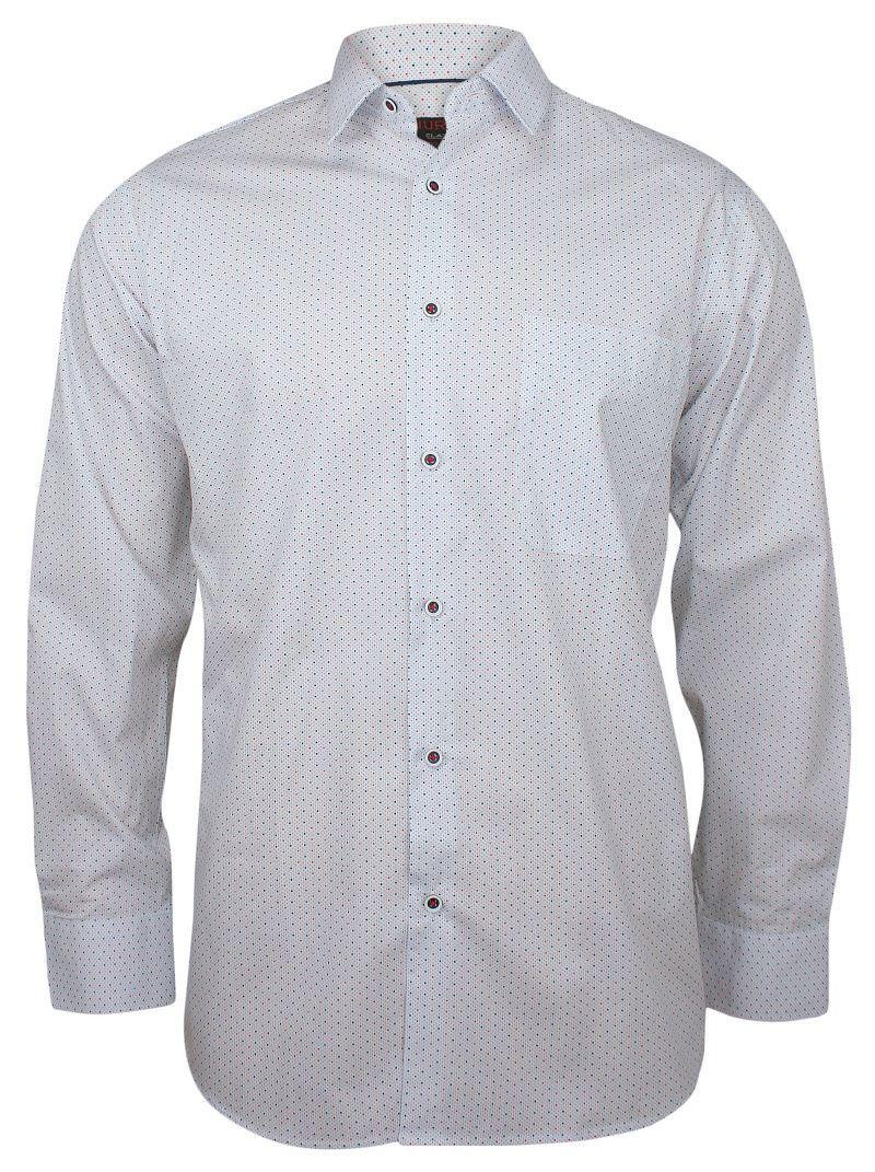 Biała Klasyczna Koszula Męska, Długi Rękaw - JUREL - 100% Bawełna, w Czerwono-Granatowe Kropki KSDWJRL0065