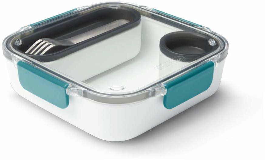 Czarny + Blum Nie zawiera BPA, szczelny bezpieczny w mikrofalówce Bento Box styl przedział pojemnik na żywność, z widelcem ze stali nierdzewnej, ocean, 1000 ml/ 34 f l oz