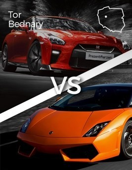 Jazda Lamborghini Gallardo vs Nissan GT-R  Tor Bednary