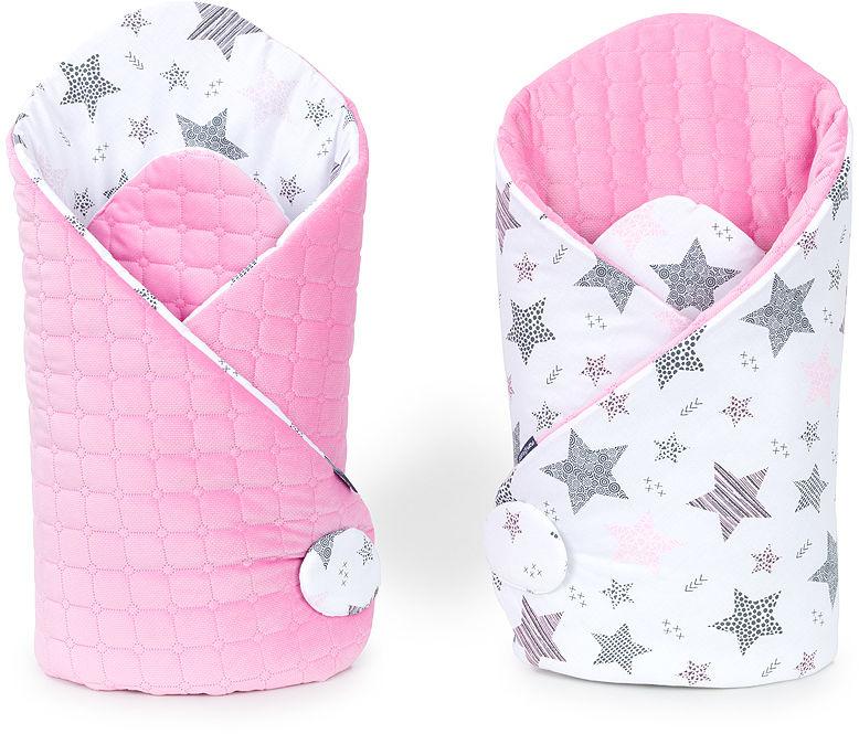 MAMO-TATO Rożek niemowlęcy dwustronny Velvet Starmix różowy / róż