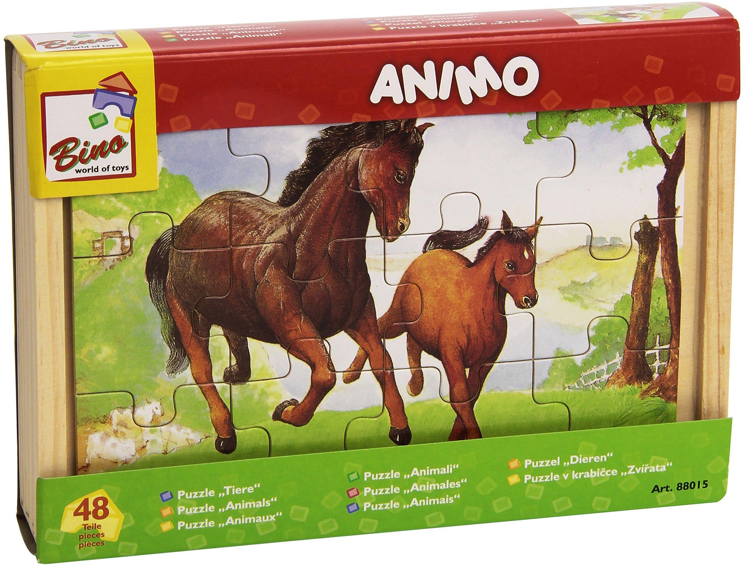 Bino 88015 puzzle w pudełku  zwierzęta, wielokolorowe