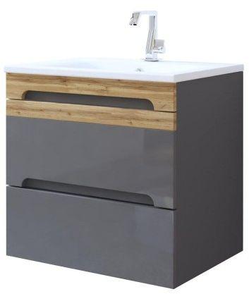 Szafka łazienkowa z umywalką 60 cm grafit połysk GALAXY