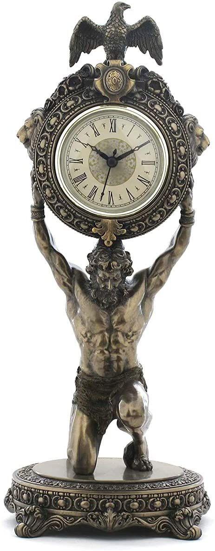 Veronese Kolekcja, ręcznie malowany zegar biurkowy Atlas, 15,5 x 15,5 x 39 cm twarda żywica poliestrowa (mieszanka proszku marmuru) zegar biurkowy
