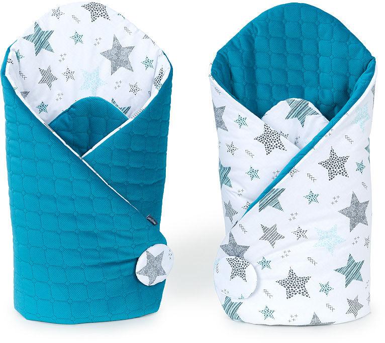 MAMO-TATO Rożek niemowlęcy dwustronny Velvet Starmix turkus / morski