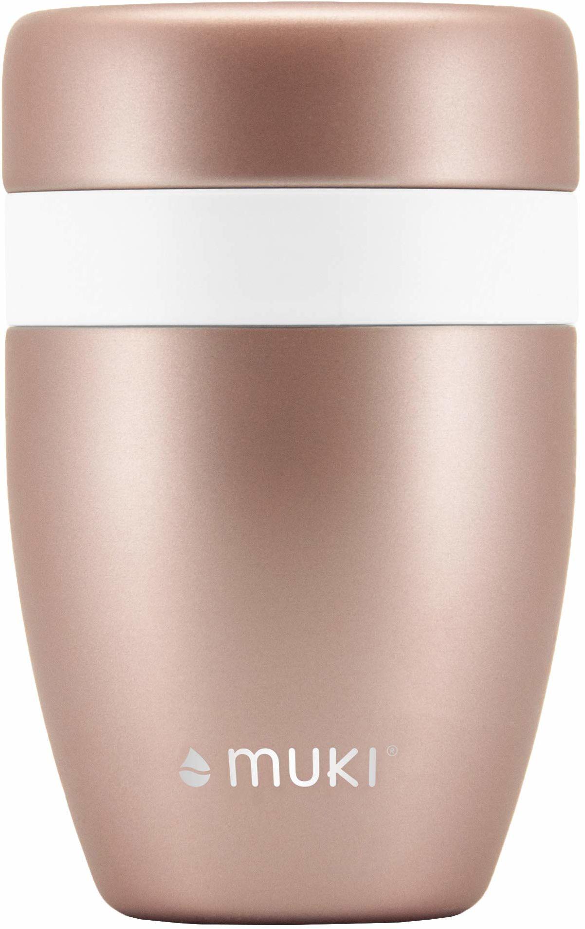 muki Snackpot w kolorze różowego złota ze stali nierdzewnej  izolowany próżniowo  Pojemnik na przekąski utrzymuje świeżość i chłód przez wiele godzin  bez BPA i nierdzewny  550 ml