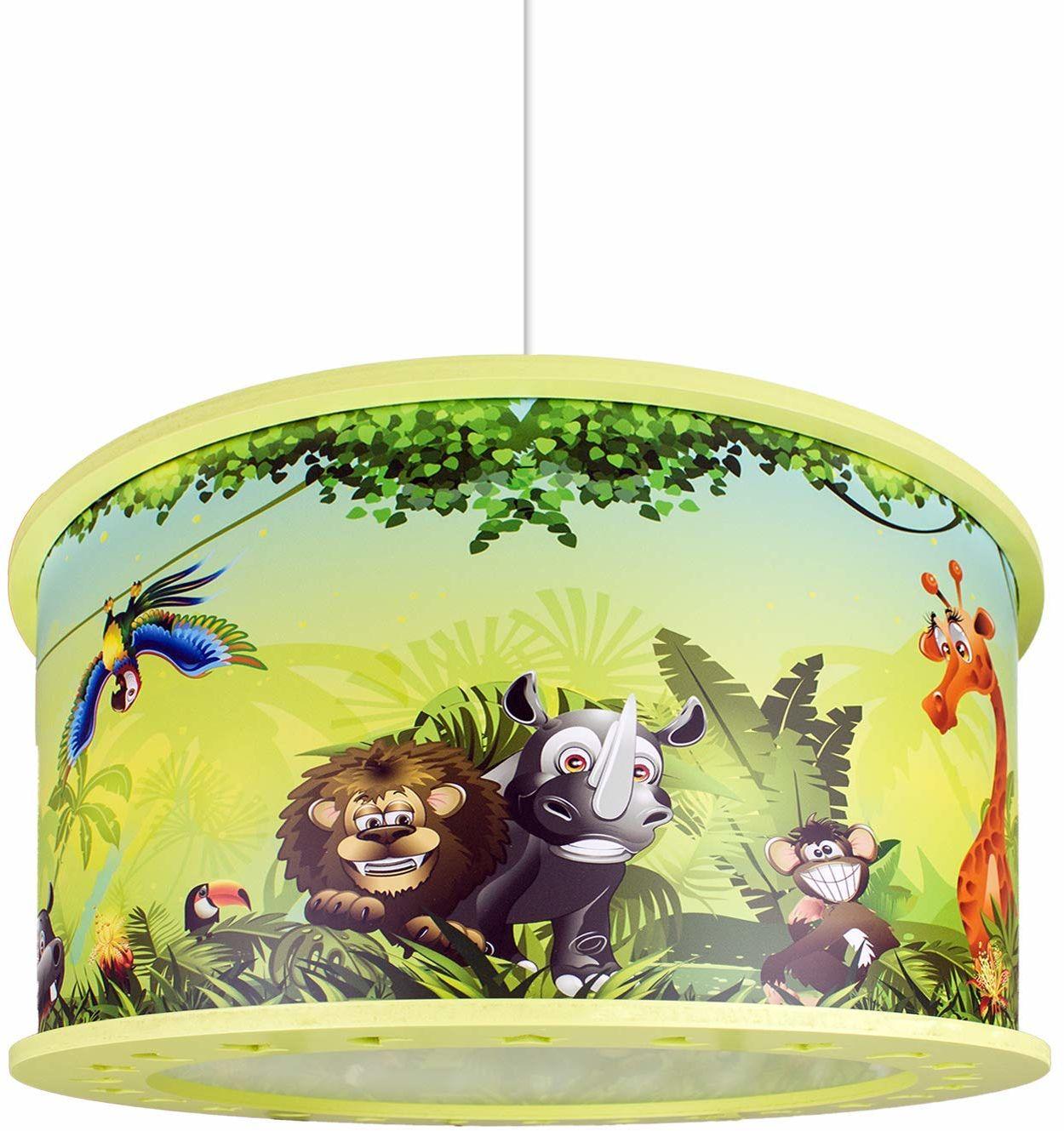 Elobra Lampa dziecięca lampa sufitowa lampa wisząca dziki dżungla, pokój dziecięcy, drewno, zielona, A++
