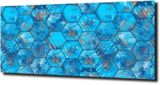 obraz na szkle Heksagon metal niebieski