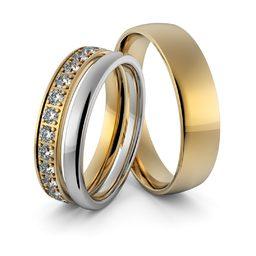 Obrączki ślubne z brylantami - zestaw dwukolorowych obrączek - Au-950