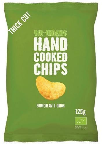 Chipsy ziemniaczane cienko krojone o smaku śmietankowo - cebulowym BIO 125 g - Trafo