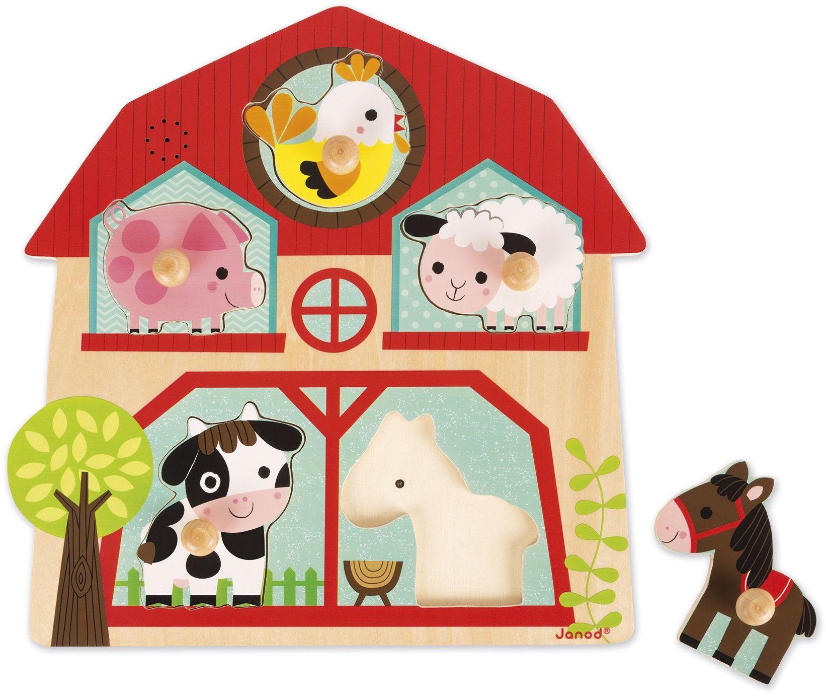Janod J07079 drewniane puzzle muzyczne, przyjaciele farmy