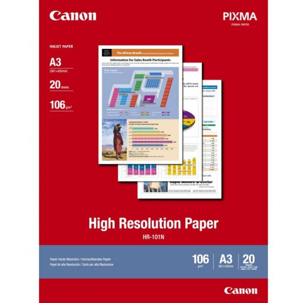 Papier CANON HR101 - powlekany, o wysokiej rozdzielczosci, A3 / 20 arkuszy (1033A006)