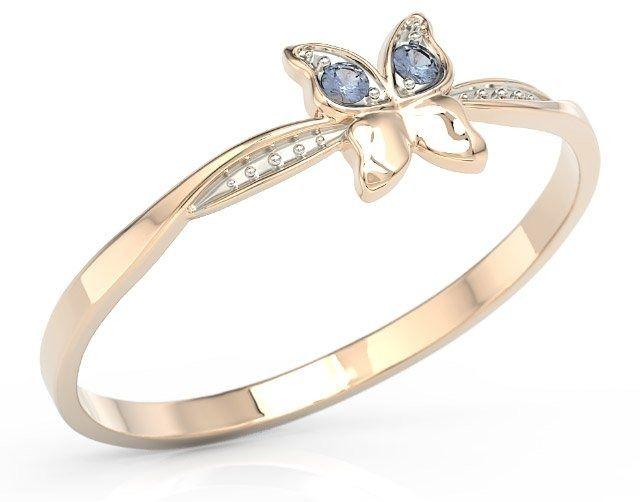 Pierścionek motylek z różowego złota z niebieskimi cyrkoniami bp-88p-r-c