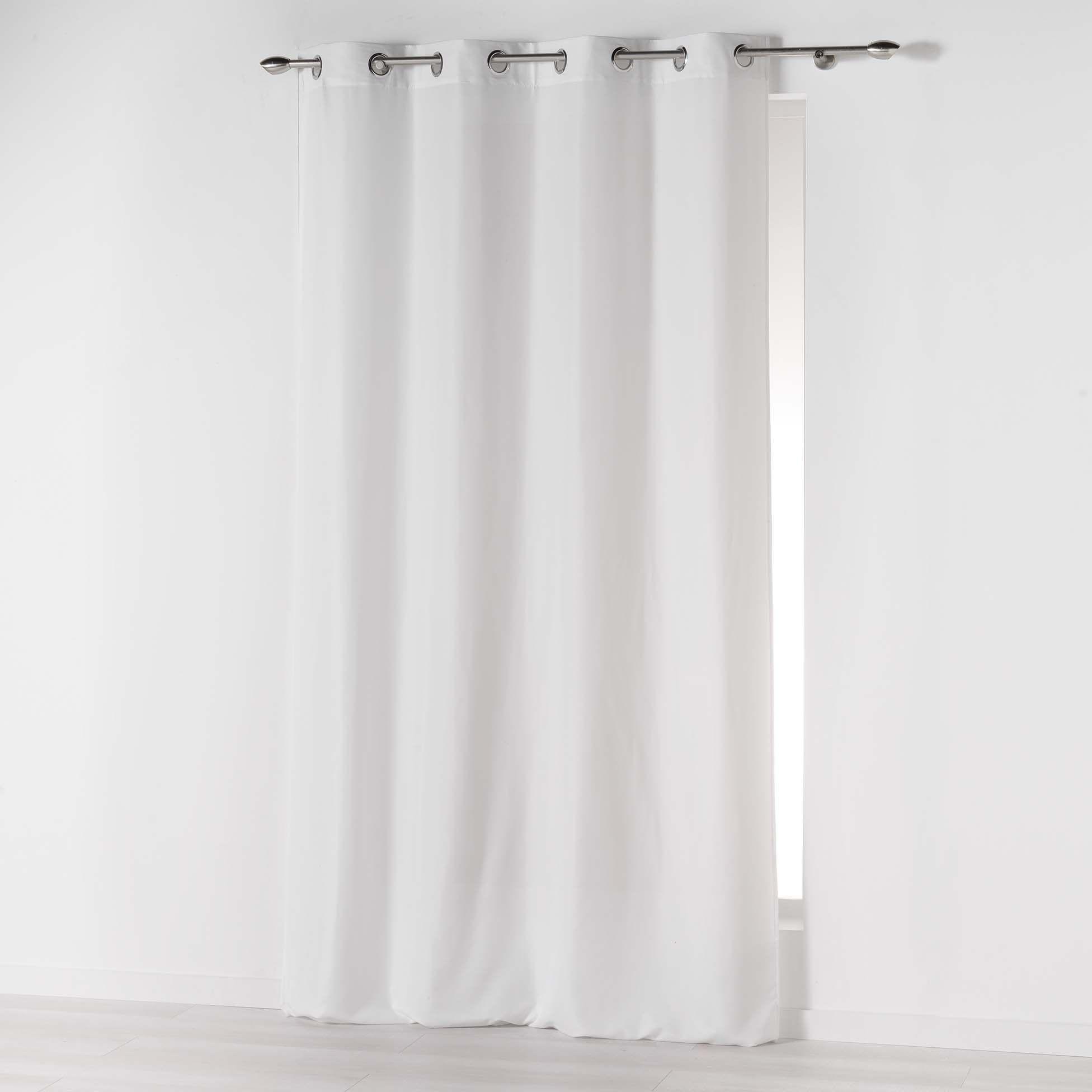 Douceur d''Intérieur Absolu zasłona na oczkach, z mikrofibry, jednokolorowa, poliester, biała, 280 x 140 cm