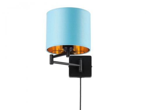 Kinkiet niebieski na wysięgniku kabel z wtyczką