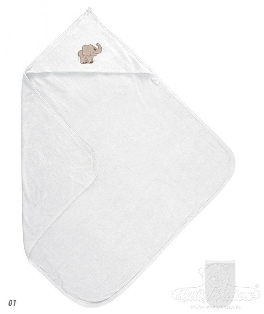 Okrycie kąpielowe niemowlęce 85x85 Frotte białe 01 z ozdobną aplikacją