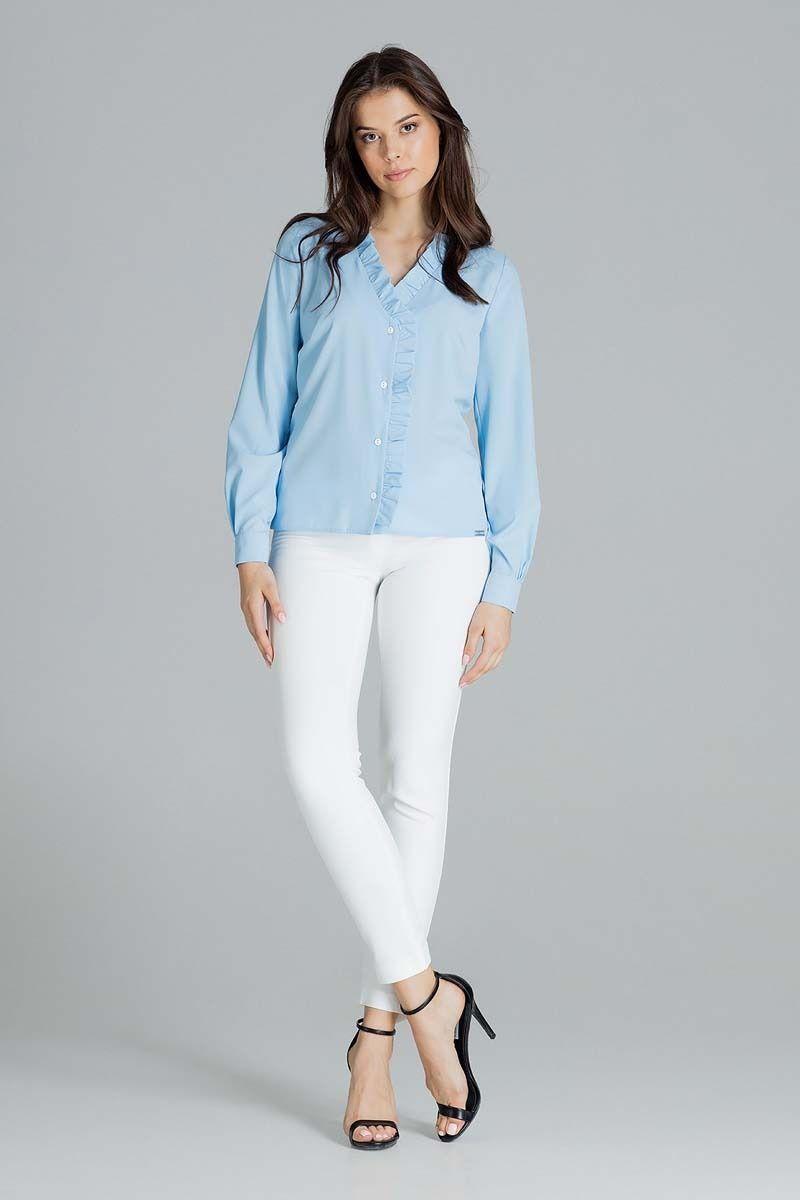 niebieska bluzka z dekoltem v z falbanką z