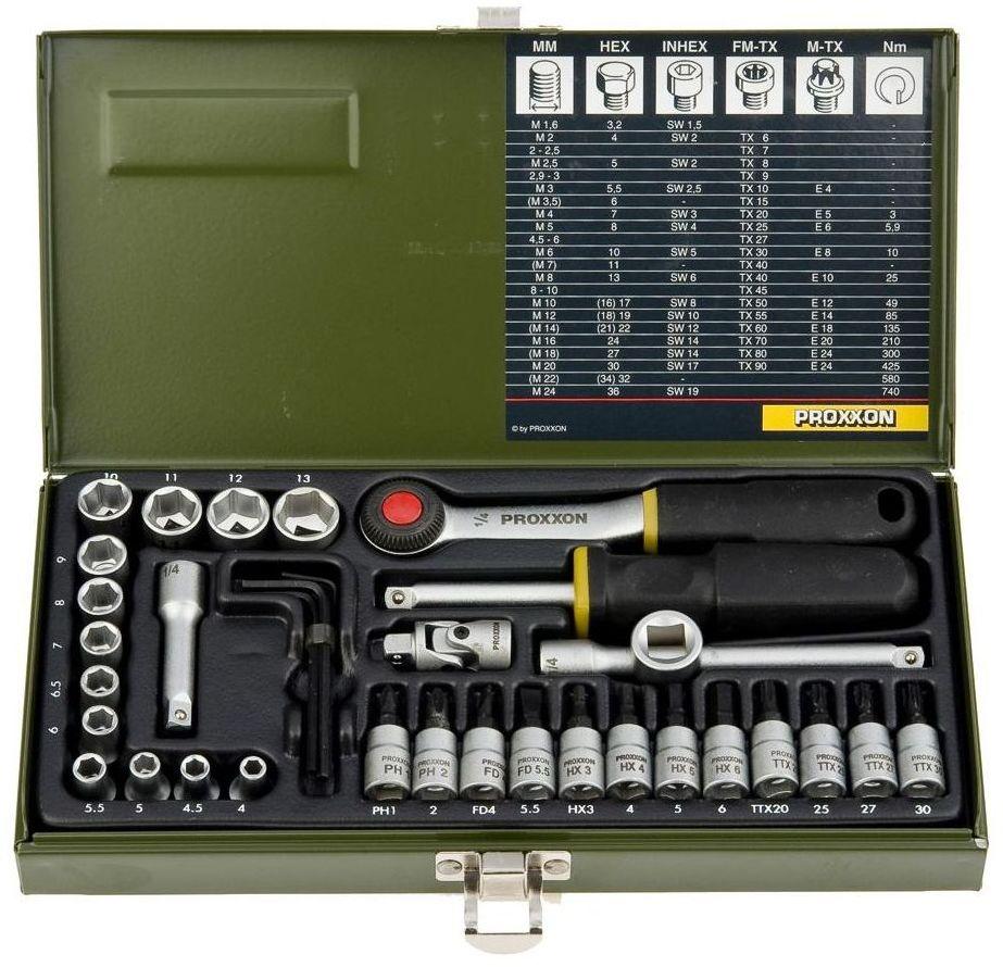 """Zestaw kluczy nasadowych 1/4"""" PRK23080 36 szt. PROXXON"""