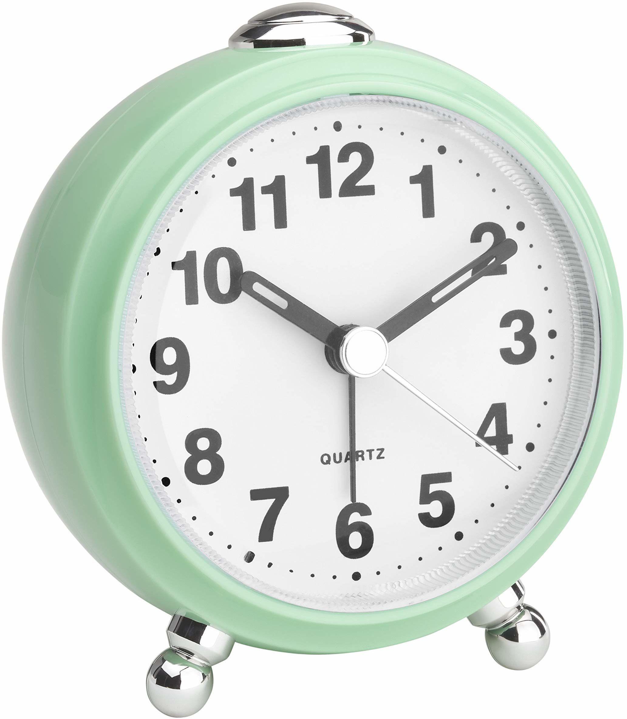 TFA Dostmann analogowy budzik, w stylu retro, cichy mechanizm zegarowy, tworzywo sztuczne, miętowy, (dł.) 83 x (szer.) 53 x (wys.) 92 mm