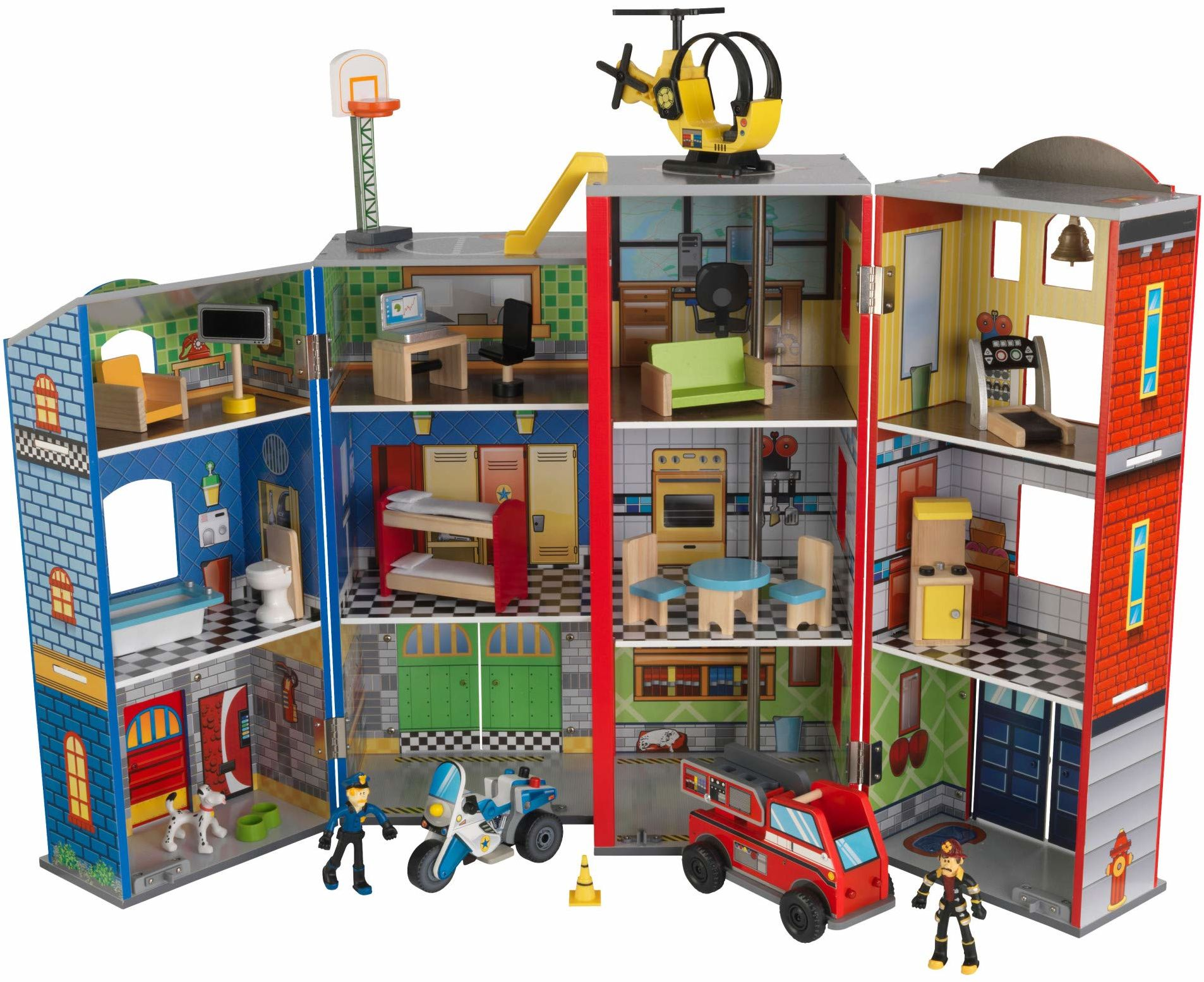 KidKraft 63239 Everyday Heroes domek strażacki i straż policyjna zestaw zabawek z drewna, kolorowy, 12 000
