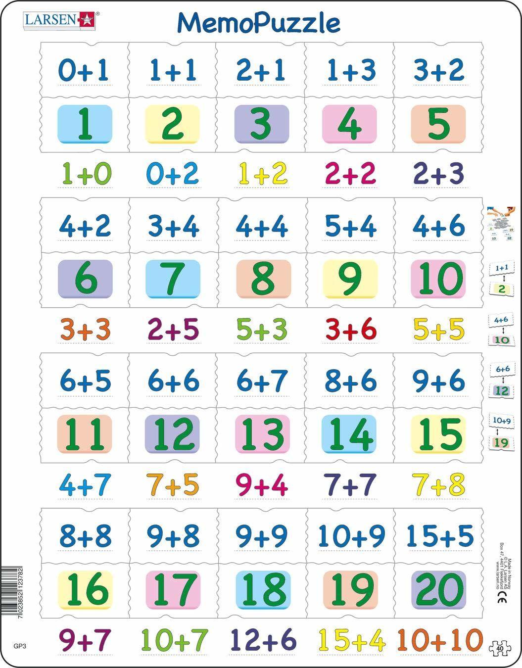 Larsen GP3 MemoPuzzle: Dodawanie z numerami od 0-20, 40 elementów