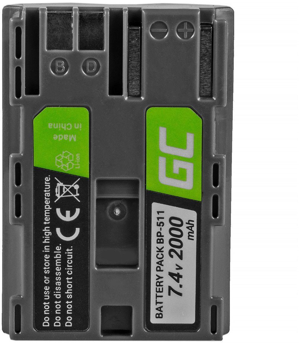 Akumulator Bateria Green Cell  BP-511A Canon EOS 5D 10D 20D 30D 40D 50D D60 300D Kiss Digital PowerShot G5 90 1 7.4V 1600mAh