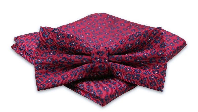 Czerwona Mucha Męska -ALTIES- z Taką Samą Poszetką, w Granatowe Kwiaty MUALTS0438