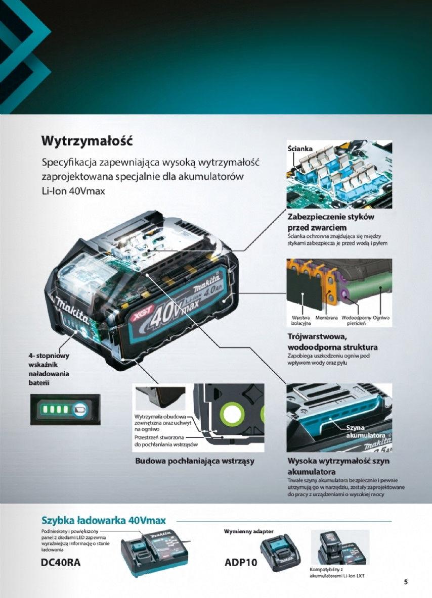 akumulatorowa pilarka tarczowa 190mm, 40V max Li-Ion, 2x4,0Ah, AWS Bluetooth XGT Makita [HS003GM201] + adapter XGT do ładowania akumulatorów LXT Makita ADP10 [191C10-7]