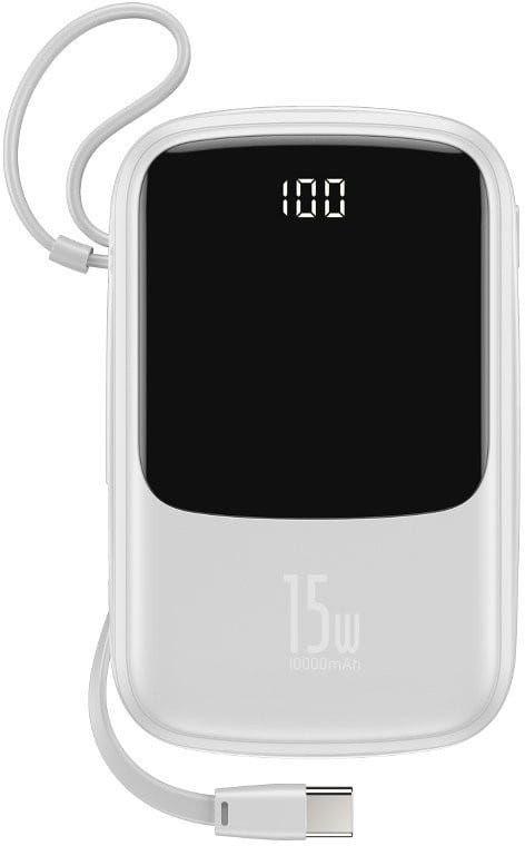 Powerbank Baseus Qpow z kablem USB-C, 10000mAh, 3A, 15W (biały)