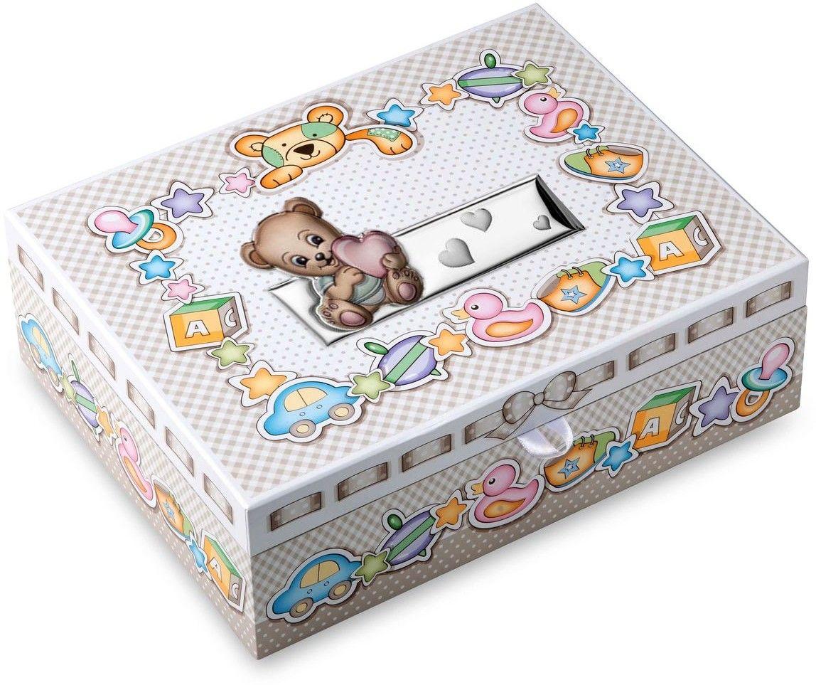 Pudełko wspomnień miś Rozmiar: 29x23x10 cm Kolor: Różowy SKU: VL75047R